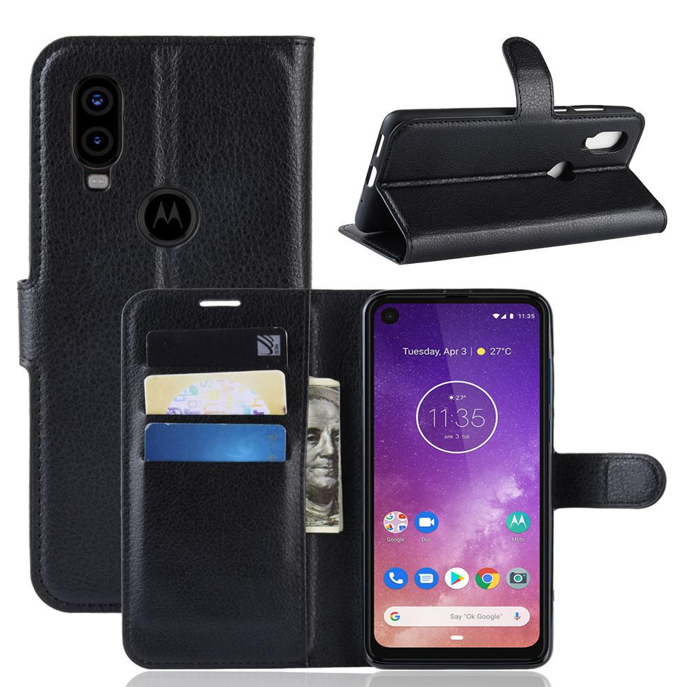 Mobilveske Motorola One Vision svart