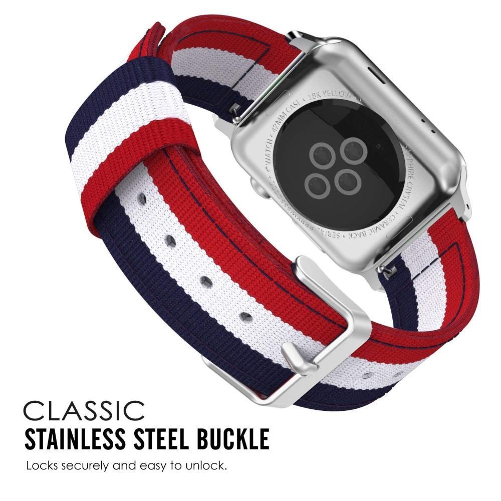 Nylonarmbånd Apple Watch 38/40/41 mm blå/hvit/rød