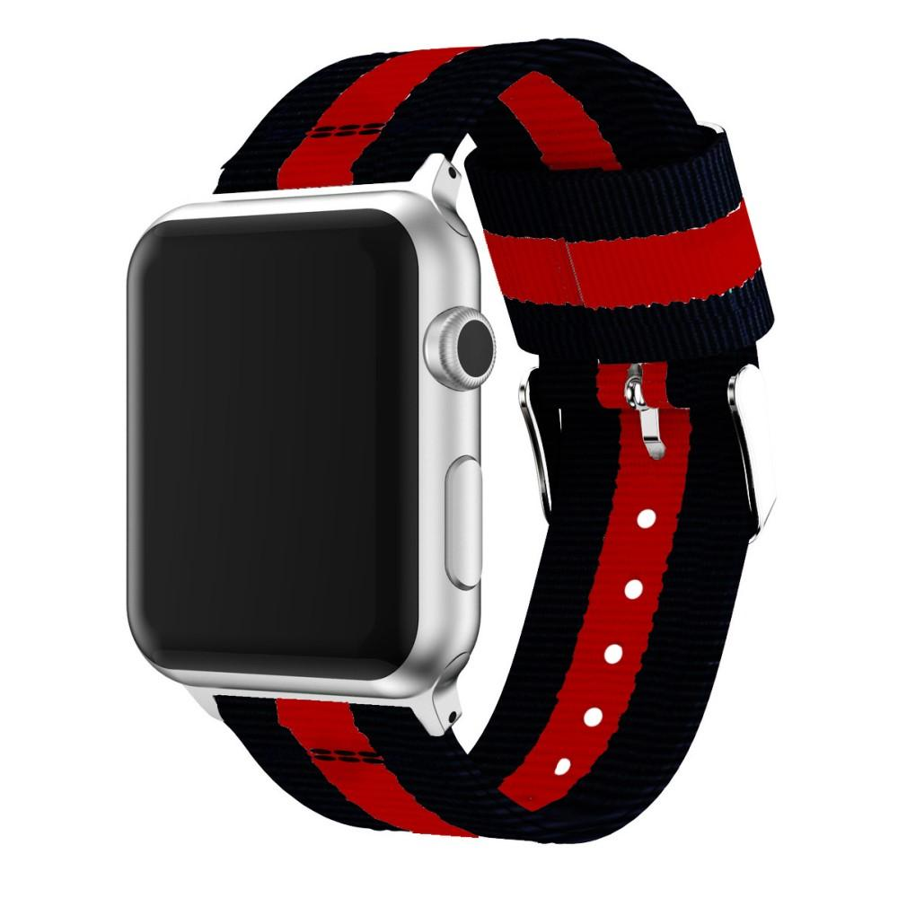 Nylonarmbånd Apple Watch 42/44mm svart/rød