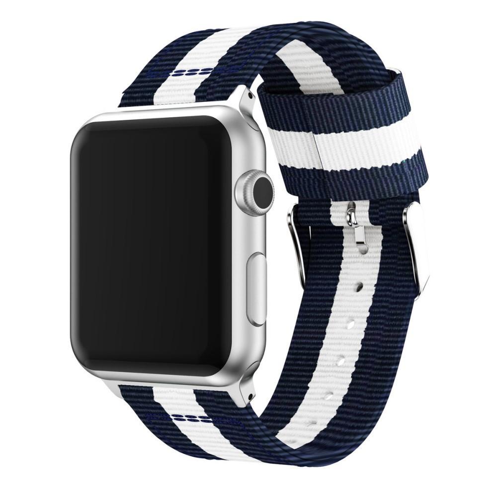 Nylonarmbånd Apple Watch 42/44/45 mm blå/hvit