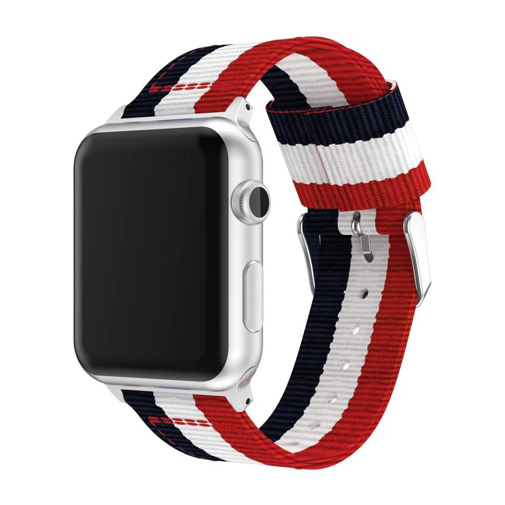 Nylonarmbånd Apple Watch 42/44/45 mm blå/hvit/rød