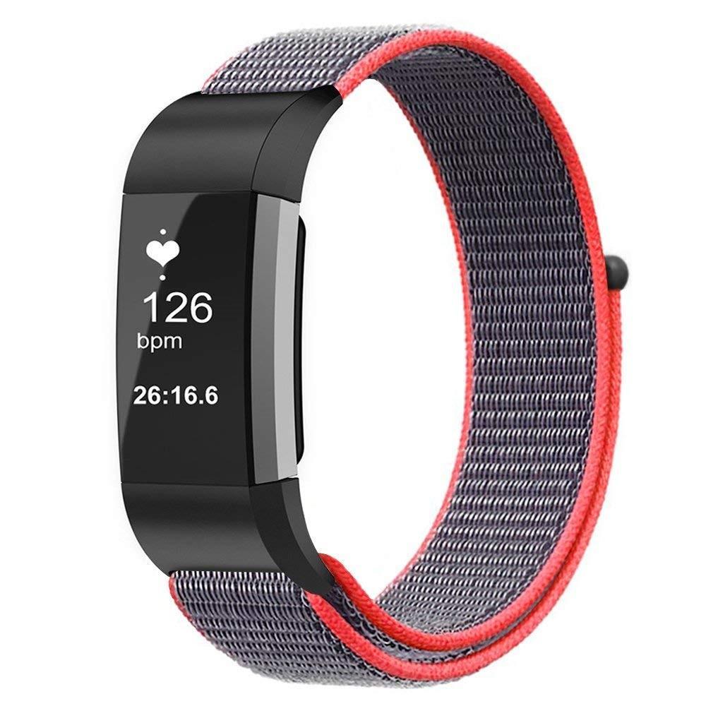 Nylonarmbånd Fitbit Charge 3/4 grå/rosa