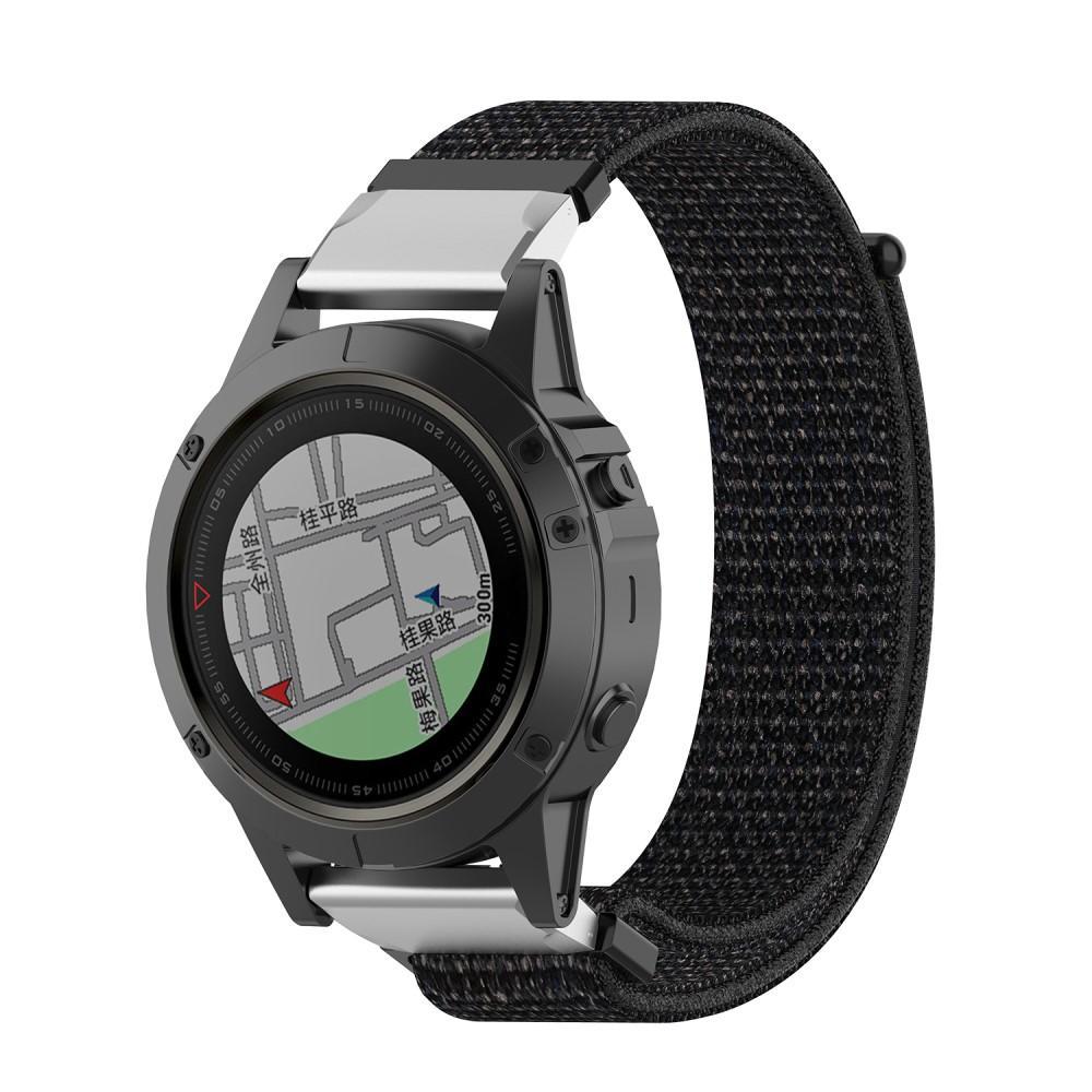 Nylonarmbånd Garmin Fenix 5X/5X Plus/6X/6X Pro svart
