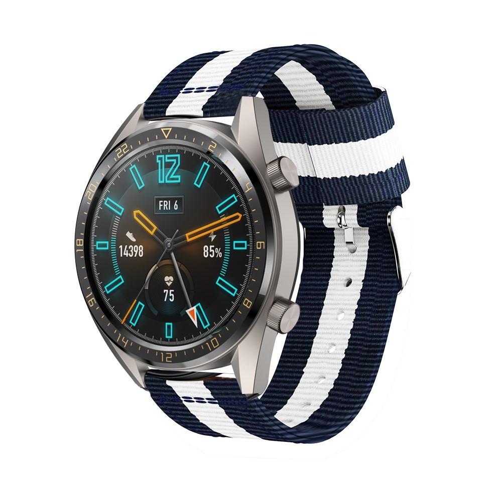 Nylonarmbånd Huawei Watch GT/GT 2 46mm/GT 2 Pro blå/hvit