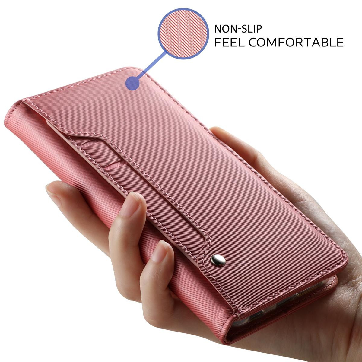 Lommebokdeksel Speil Galaxy Note 10 Rosa Gull