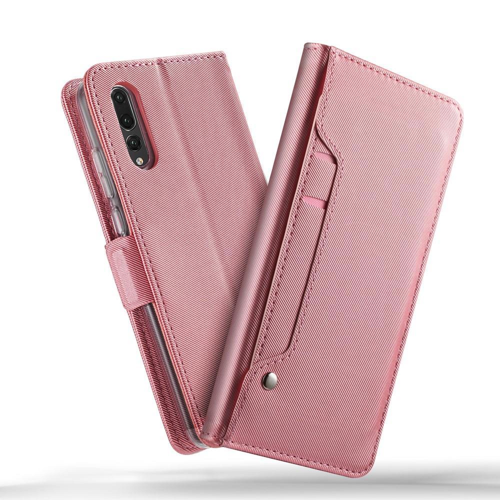 Lommebokdeksel Speil Huawei P20 Pro Rosa Gull