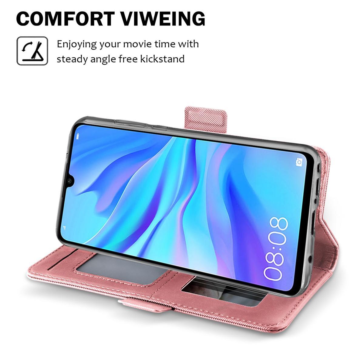 Lommebokdeksel Speil Huawei P30 Lite Rosa Gull