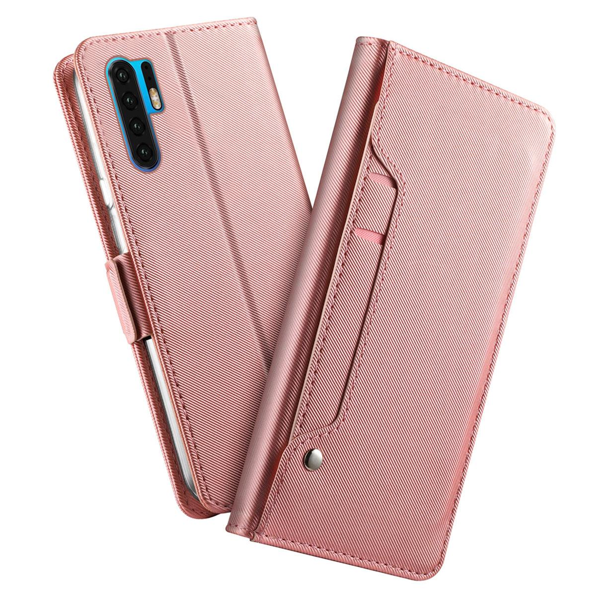 Lommebokdeksel Speil Huawei P30 Pro Rosa Gull