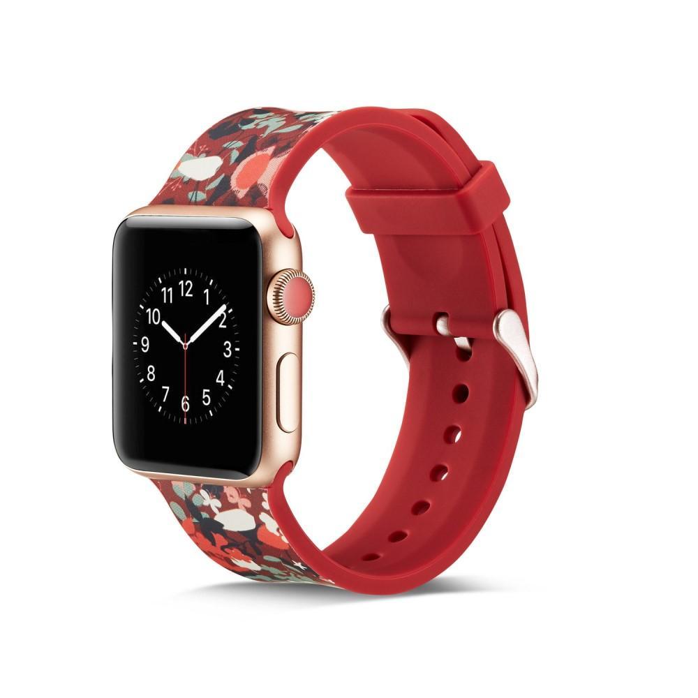 Silikonarmbånd Apple Watch 38/40/41 mm rød blommor