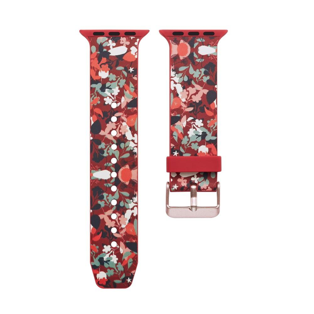 Silikonarmbånd Apple Watch 42/44/45 mm rød blommor