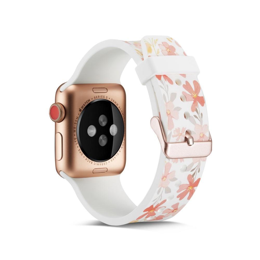 Silikonarmbånd Apple Watch 42/44/45 mm hvit blommor