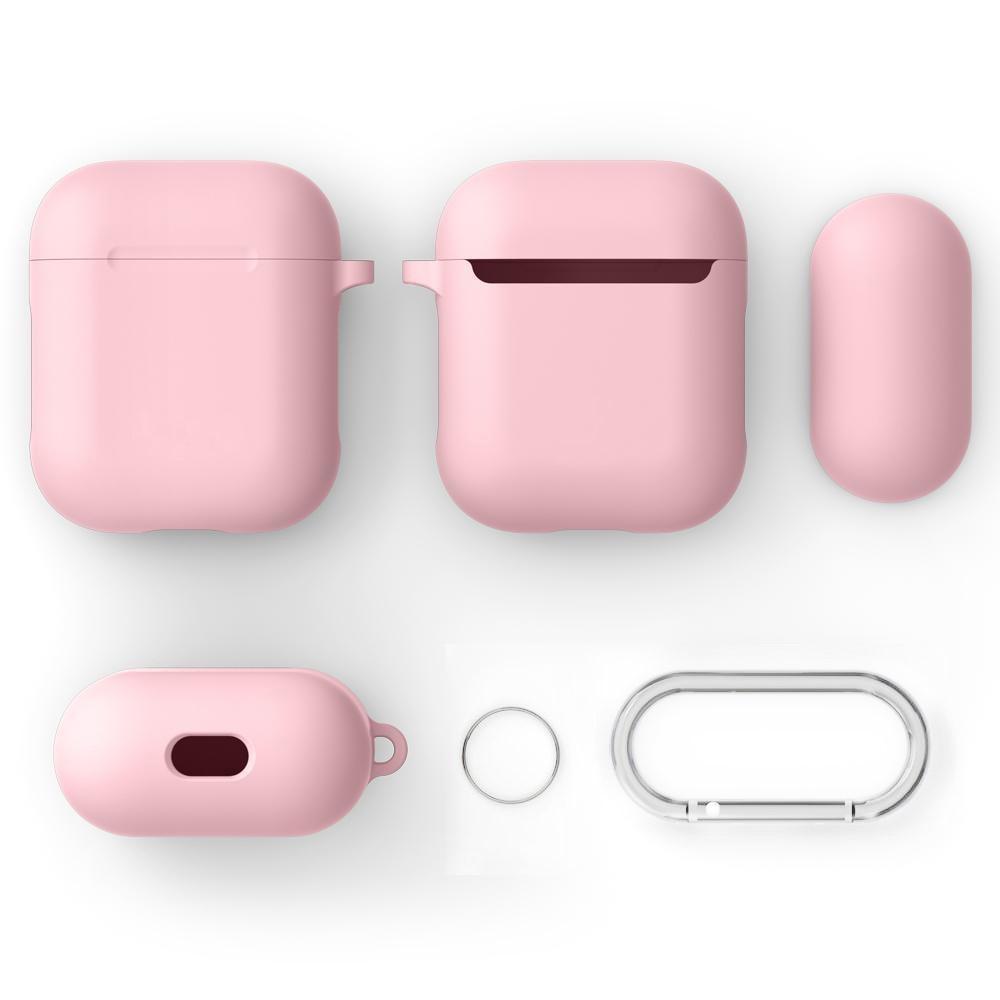 Silikondeksel med karabinkrok Apple AirPods rosa