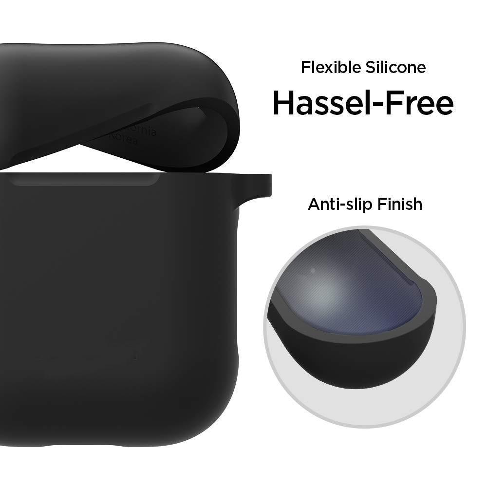 Silikondeksel med karabinkrok Apple AirPods svart