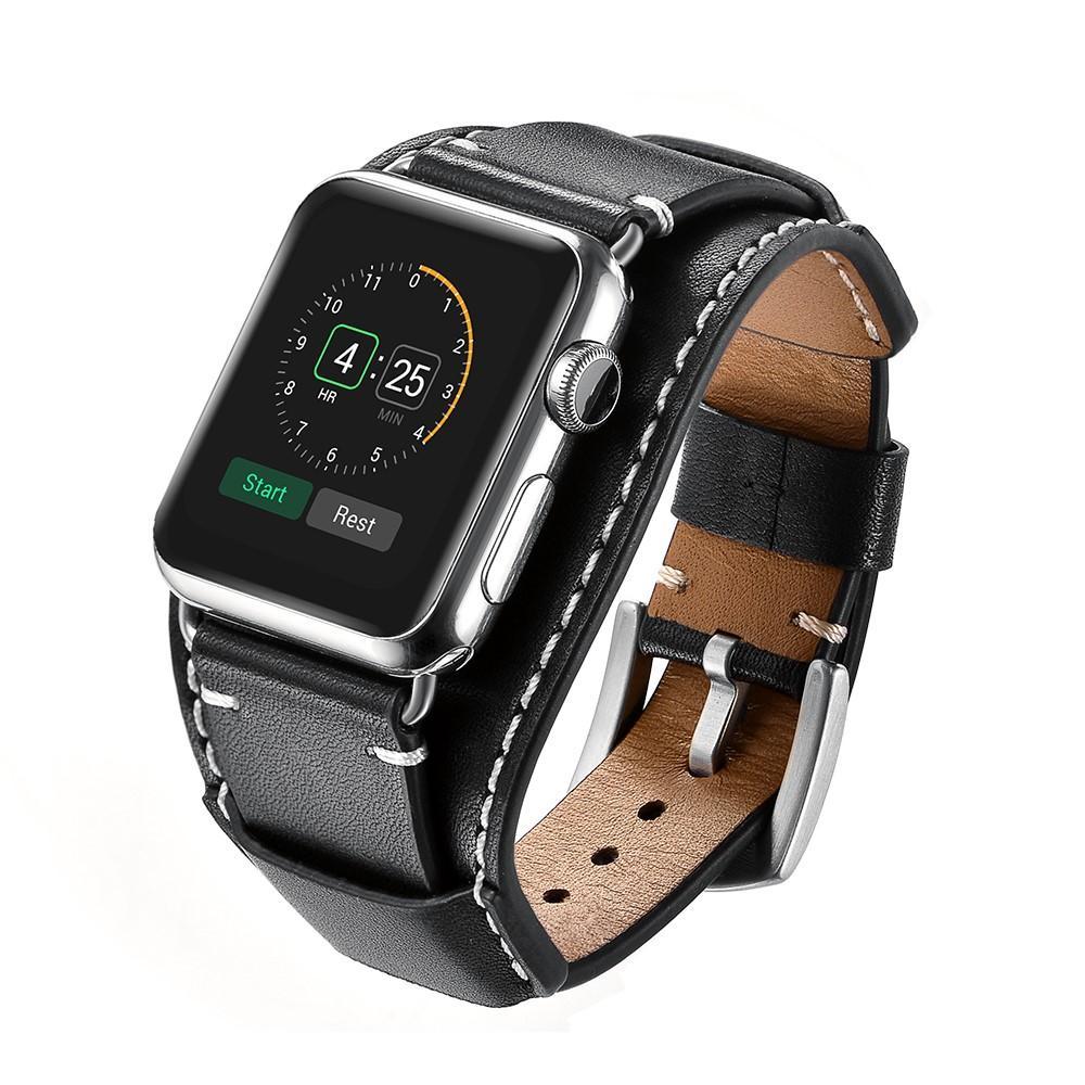 Bred Lærarmbånd Apple Watch 42/44/45 mm svart