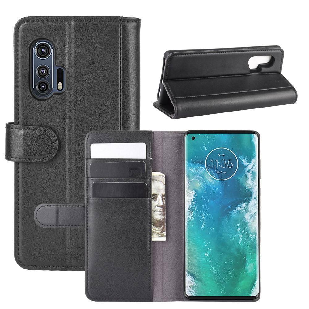 Ekte Lærveske Motorola Edge Plus svart