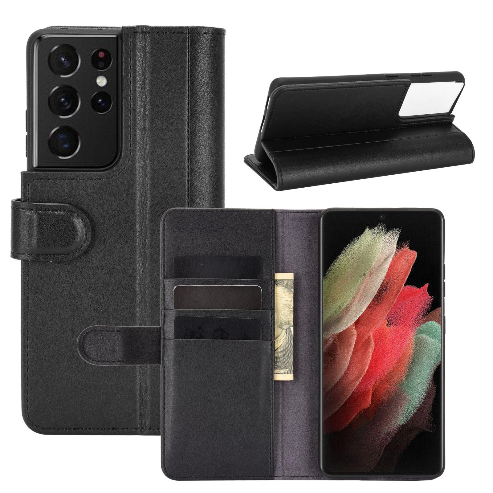 Ekte Lærveske Samsung Galaxy S21 Ultra svart