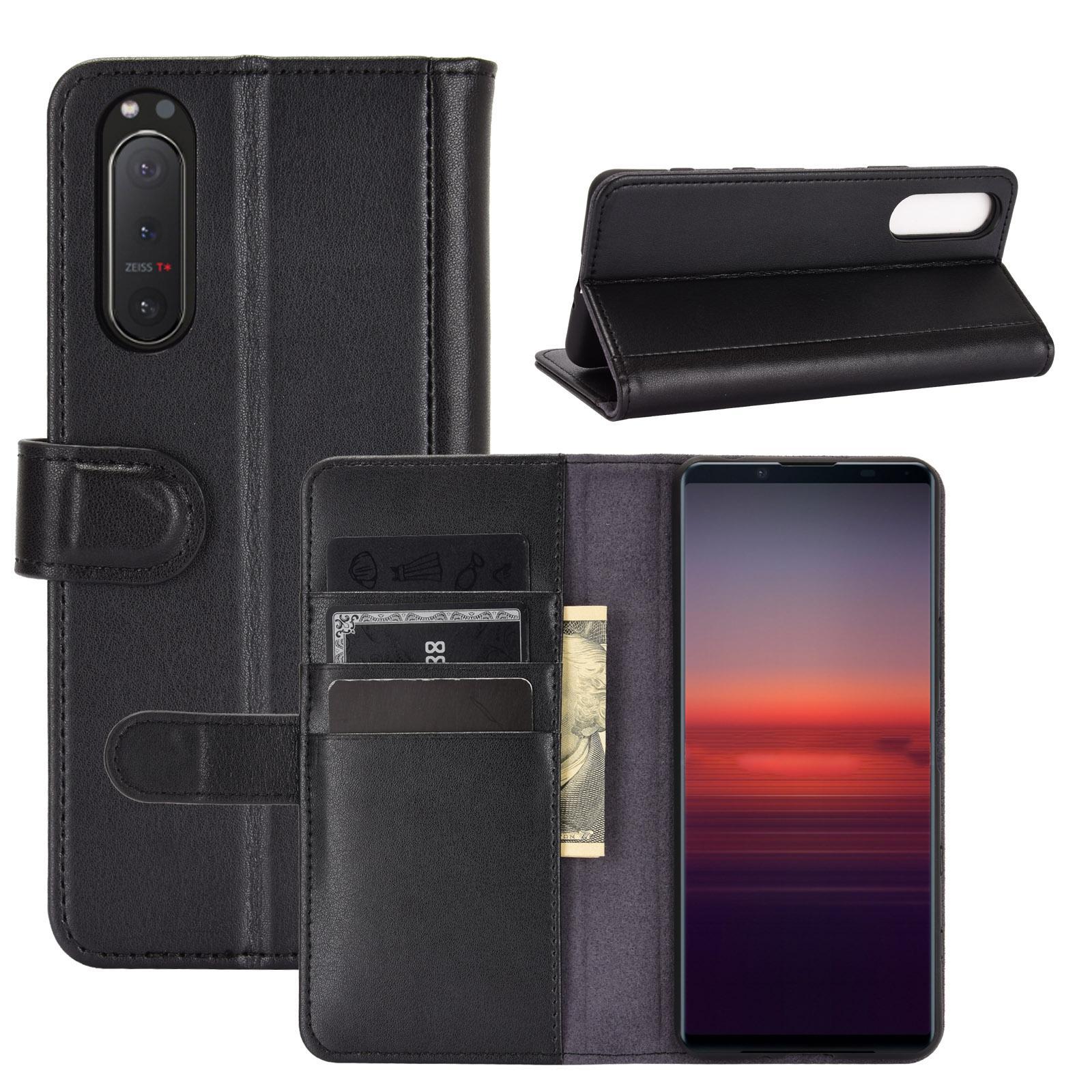 Ekte Lærveske Sony Xperia 5 II svart