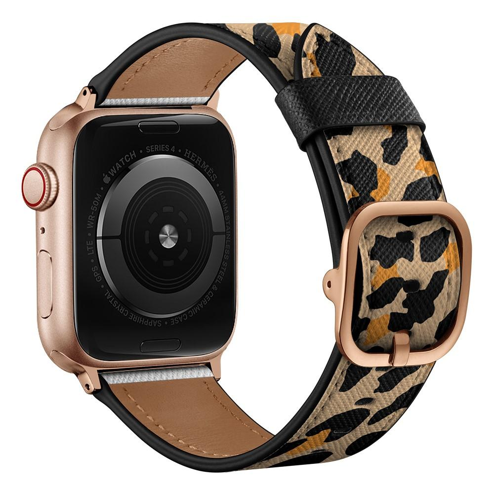Lærarmbånd Apple Watch 42/44/45 mm leopard
