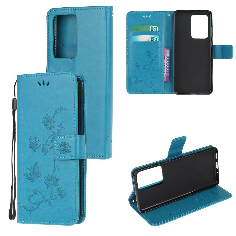 Lærveske Sommerfugler Galaxy Note 20 Ultra blå