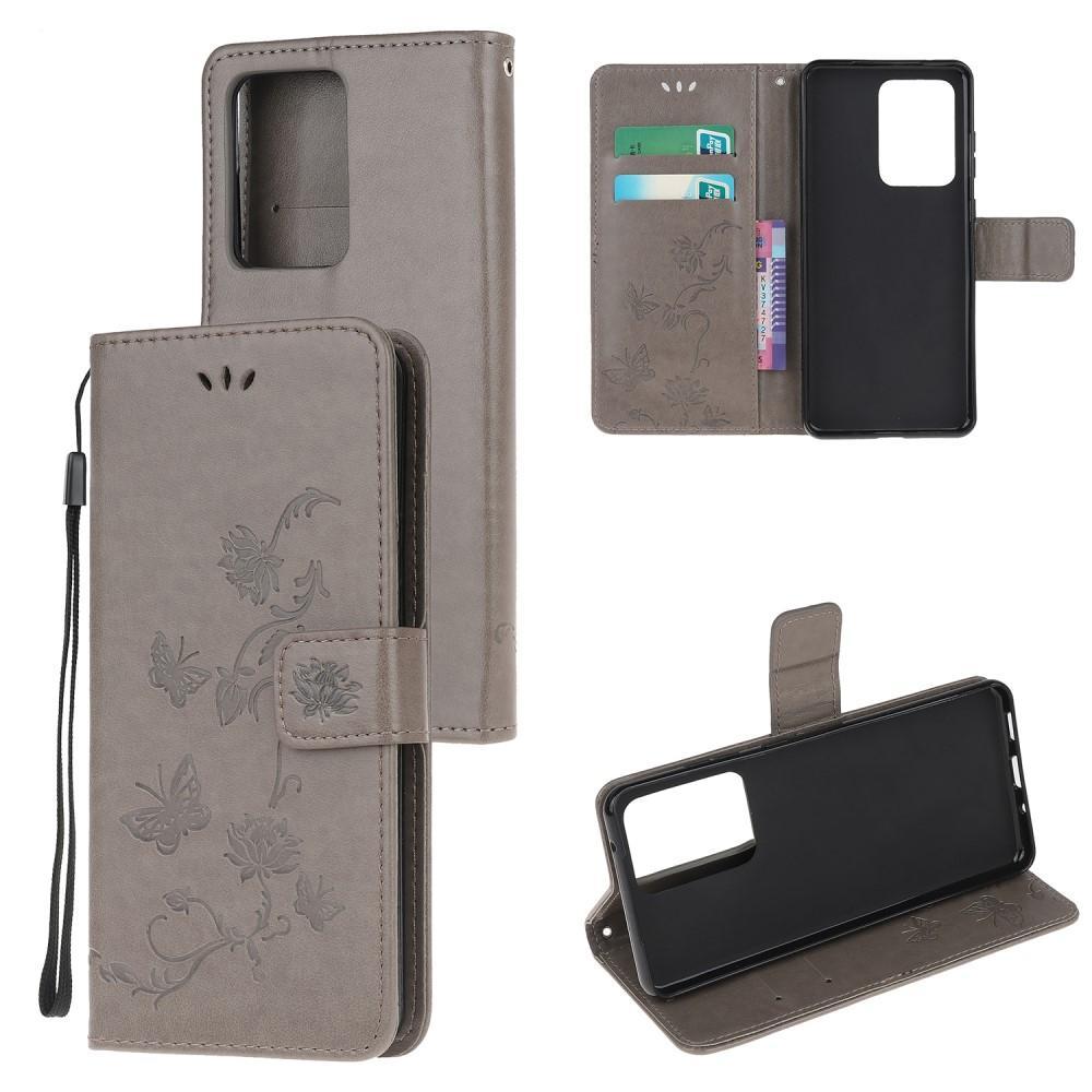 Lærveske Sommerfugler Galaxy Note 20 Ultra grå