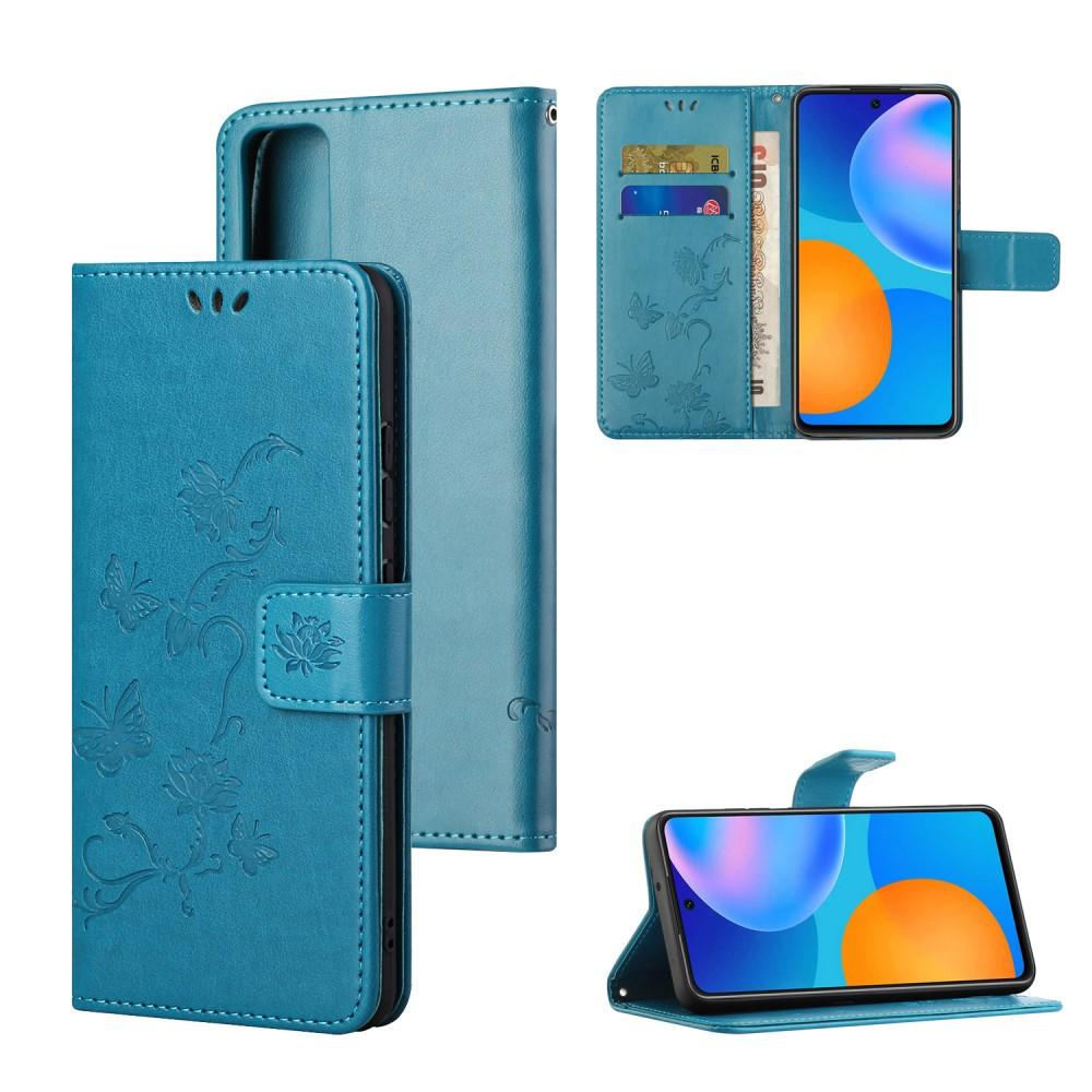 Lærveske Sommerfugler Huawei P Smart 2021 blå