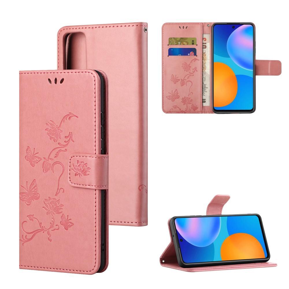 Lærveske Sommerfugler Huawei P Smart 2021 rosa