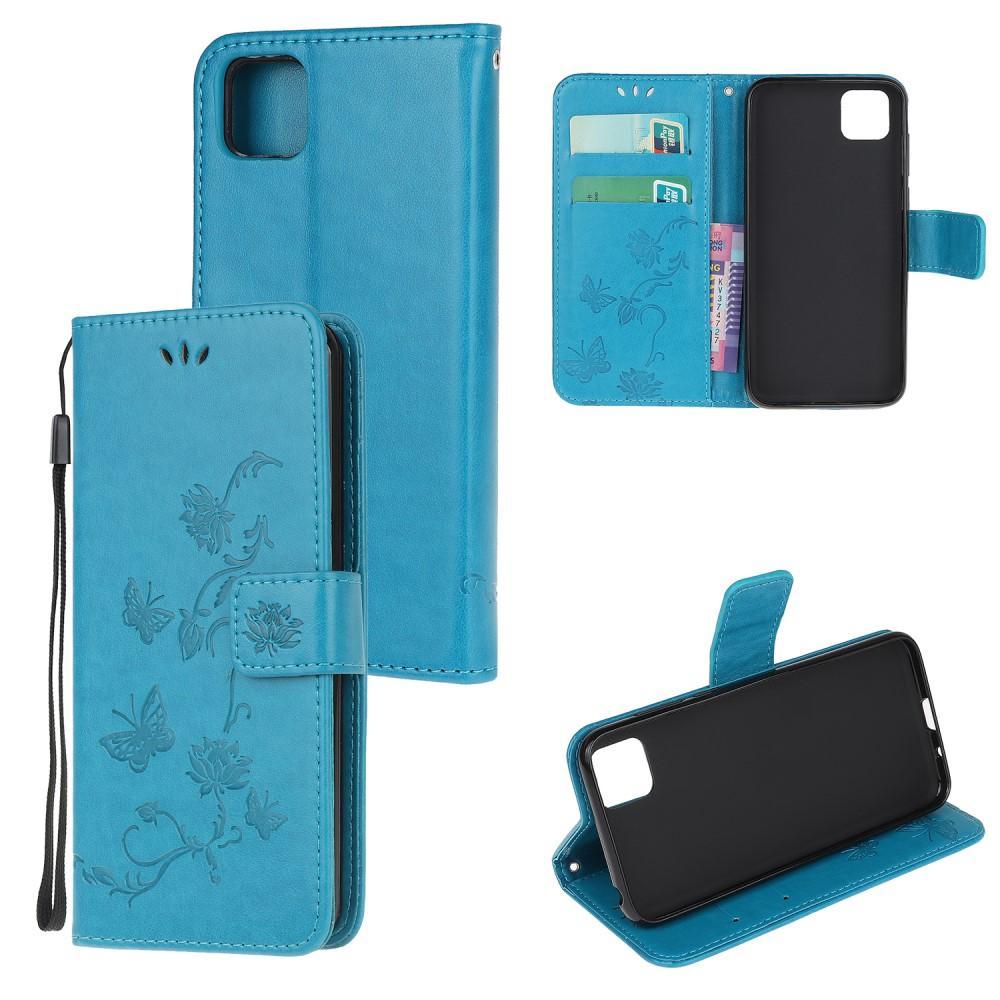 Lærveske Sommerfugler Huawei Y5p blå