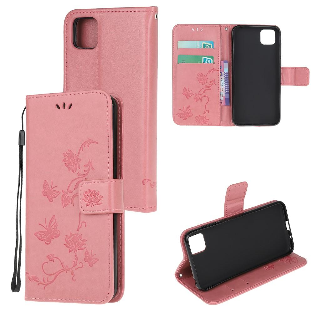 Lærveske Sommerfugler Huawei Y5p rosa
