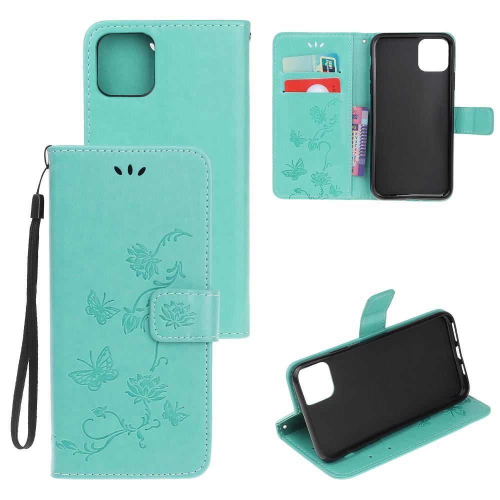 Lærveske Sommerfugler iPhone 12 Mini grønn