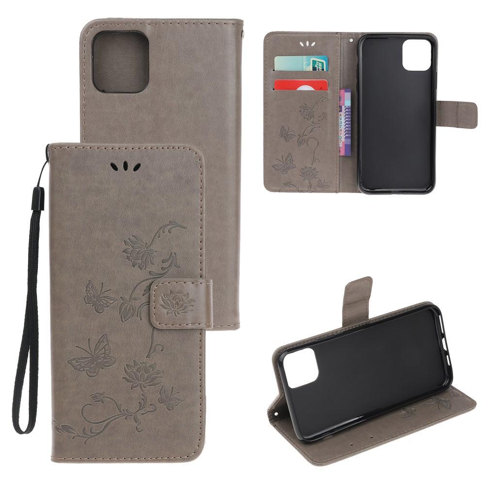 Lærveske Sommerfugler iPhone 12/12 Pro grå