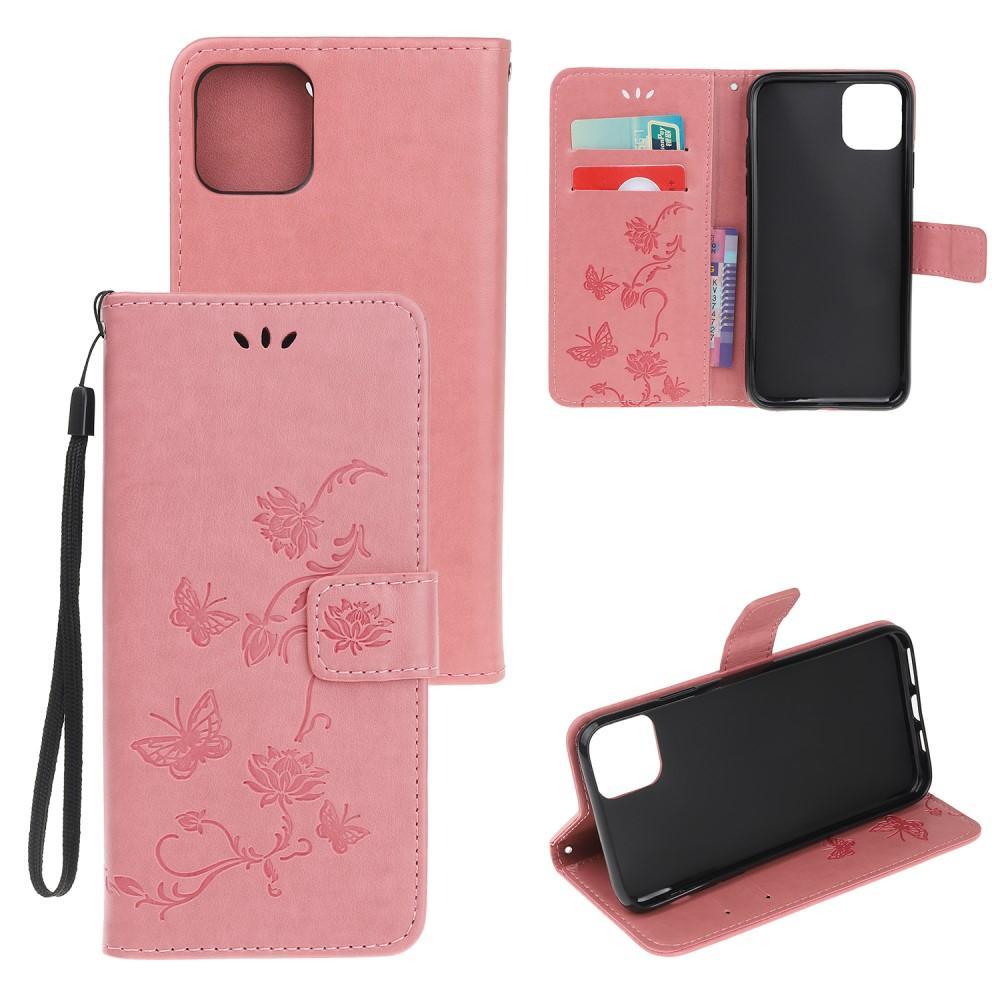 Lærveske Sommerfugler iPhone 12 Mini rosa