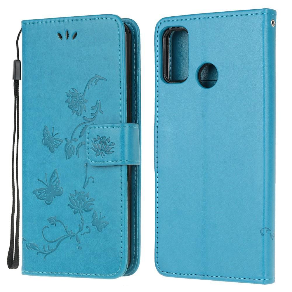 Lærveske Sommerfugler Motorola Moto G10/G20/G30 blå