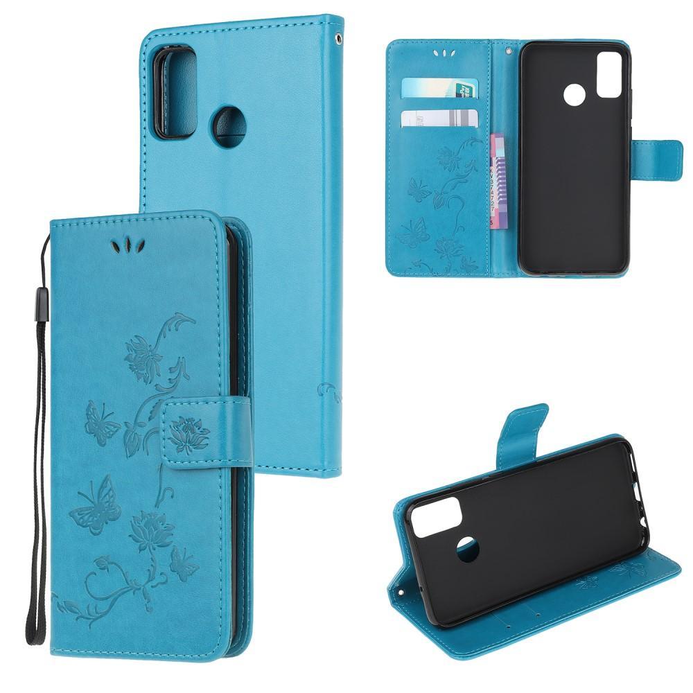 Lærveske Sommerfugler Motorola Moto G50 blå