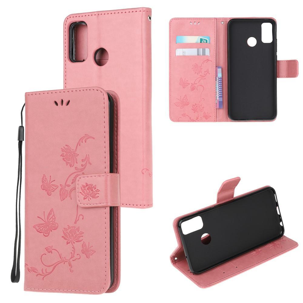 Lærveske Sommerfugler Motorola Moto G50 rosa
