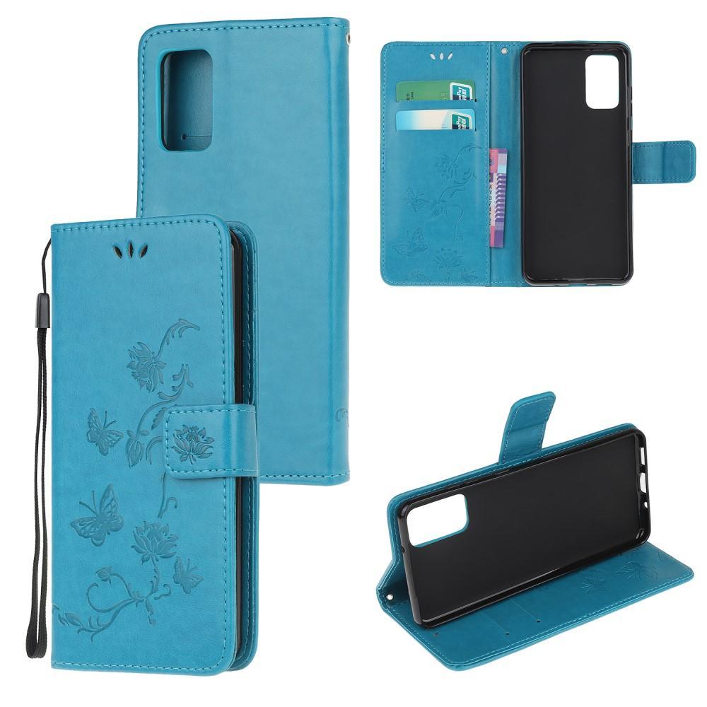 Lærveske Sommerfugler Motorola Moto G9 Plus blå