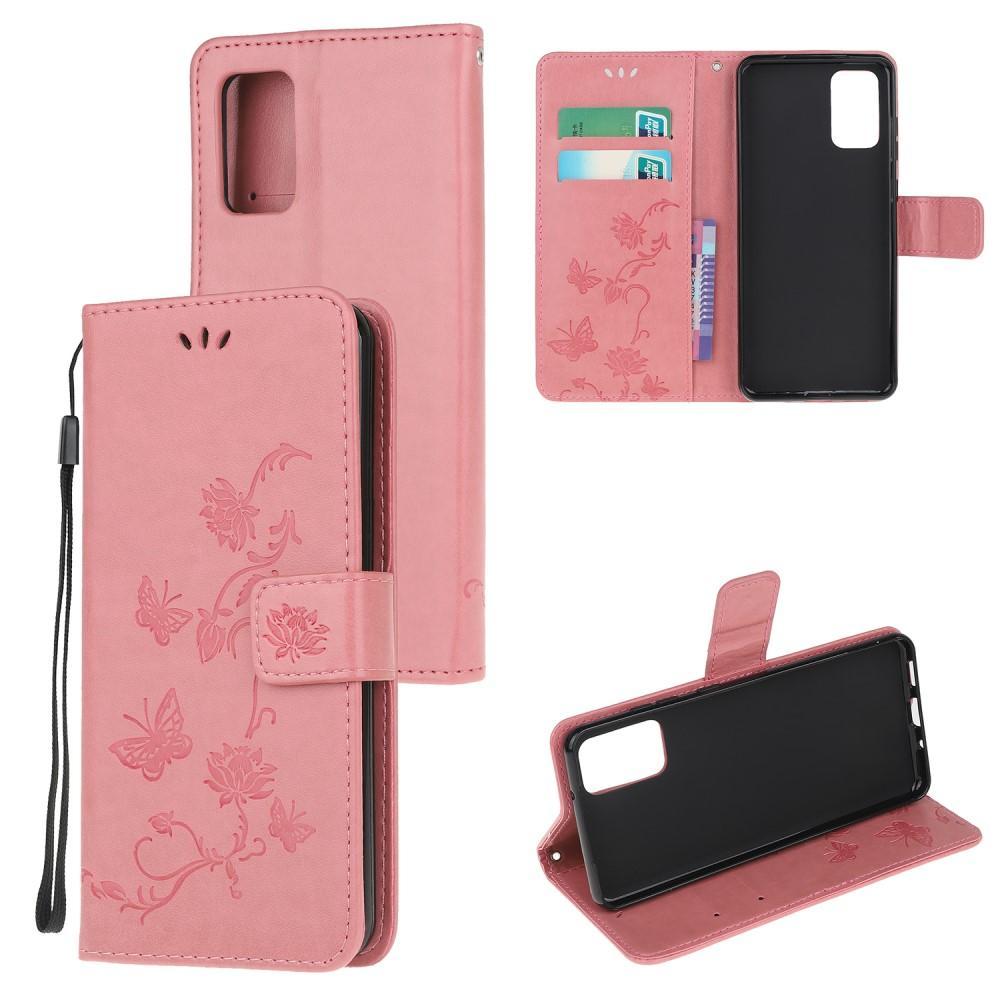Lærveske Sommerfugler Motorola Moto G9 Plus rosa