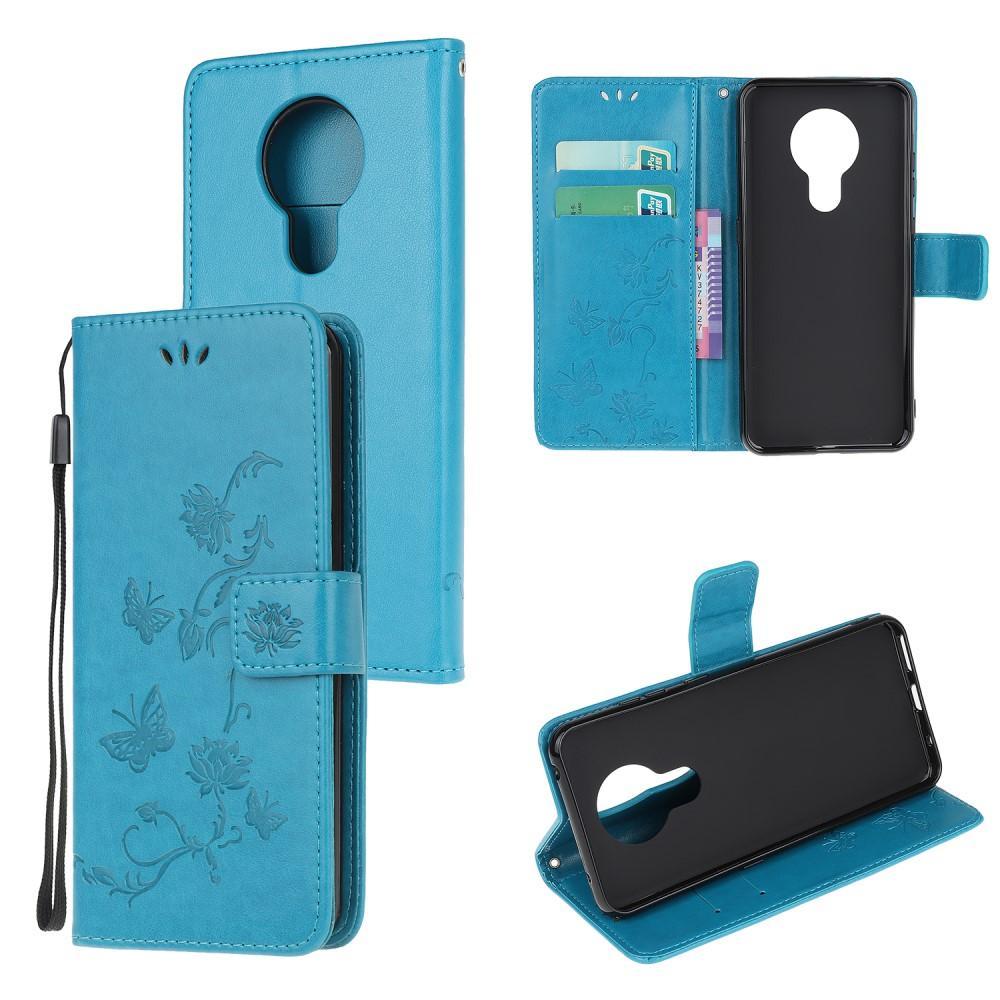 Lærveske Sommerfugler Nokia 5.3 blå