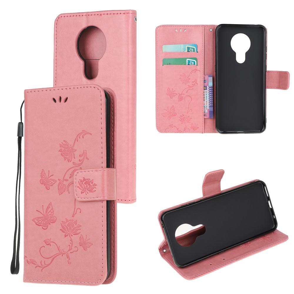 Lærveske Sommerfugler Nokia 5.3 rosa