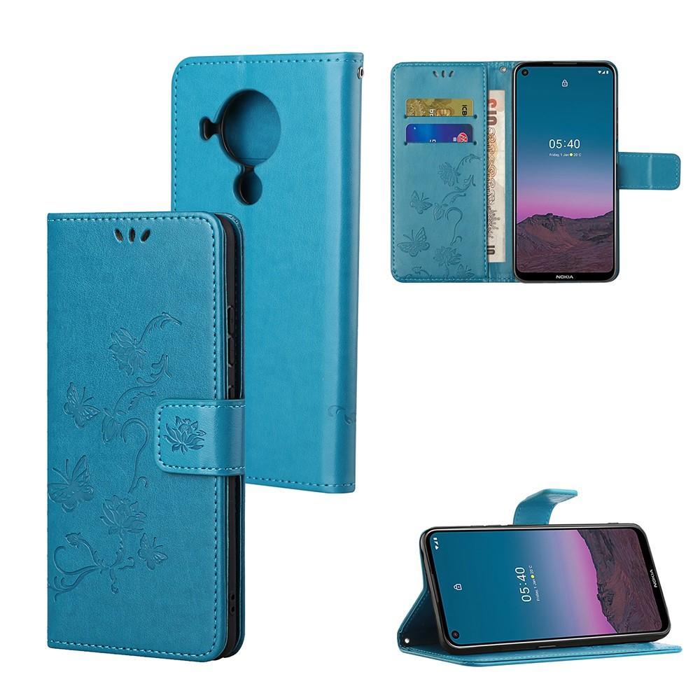 Lærveske Sommerfugler Nokia 5.4 blå