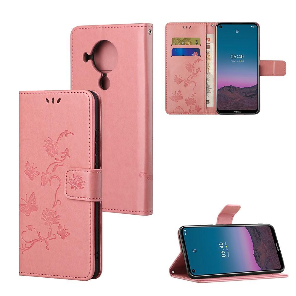 Lærveske Sommerfugler Nokia 5.4 rosa