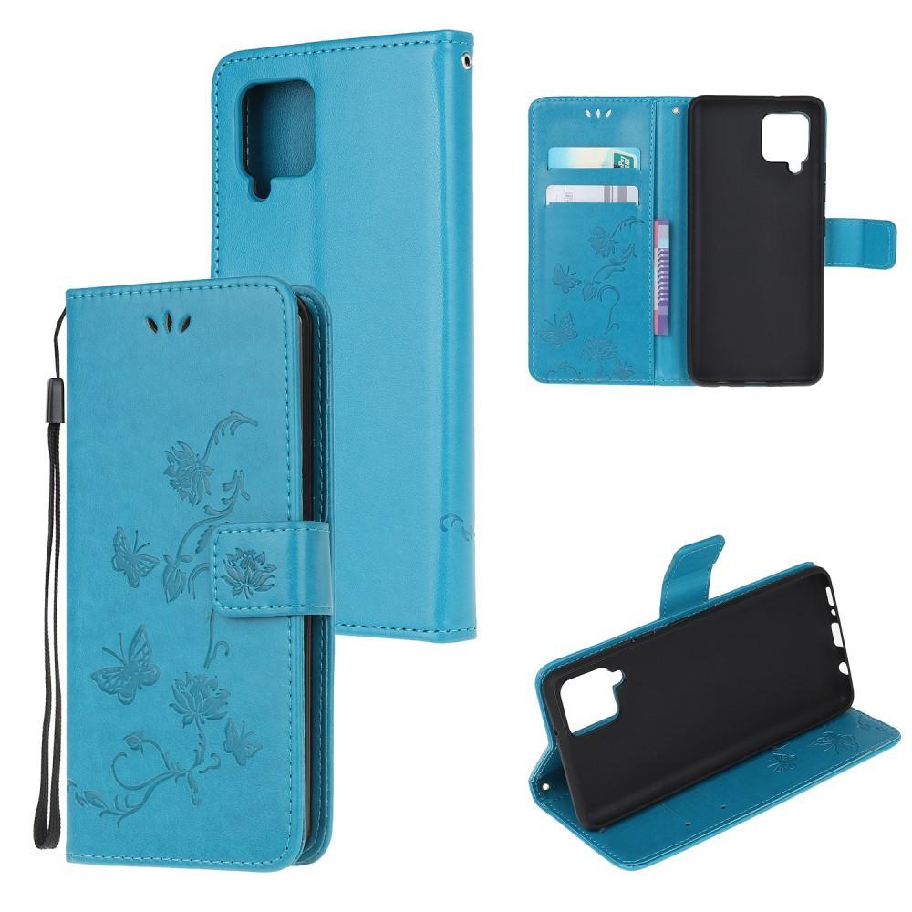 Lærveske Sommerfugler Samsung Galaxy A12 blå