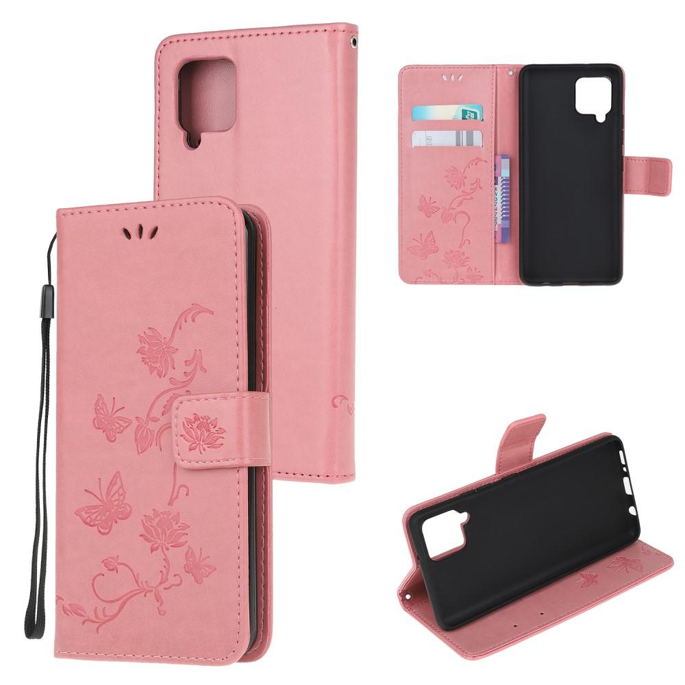Lærveske Sommerfugler Samsung Galaxy A12 rosa