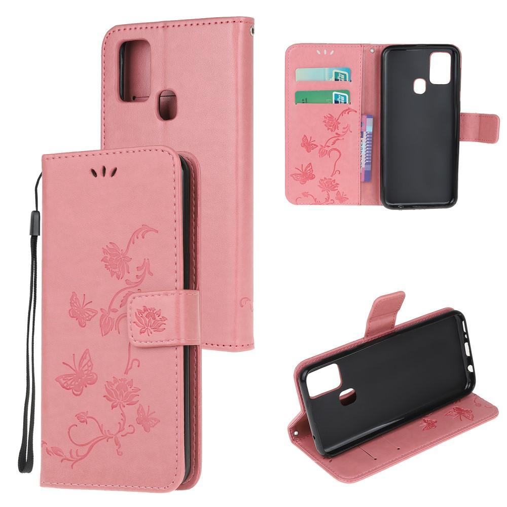 Lærveske Sommerfugler Samsung Galaxy A21s rosa
