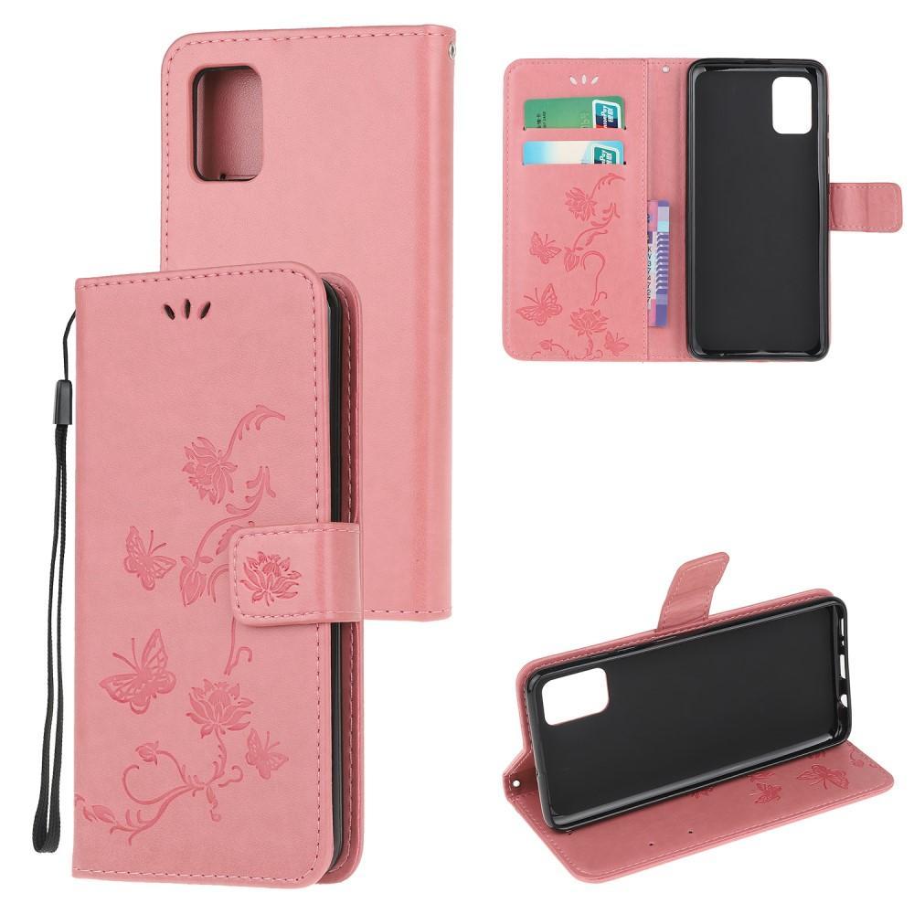 Lærveske Sommerfugler Samsung Galaxy A41 rosa