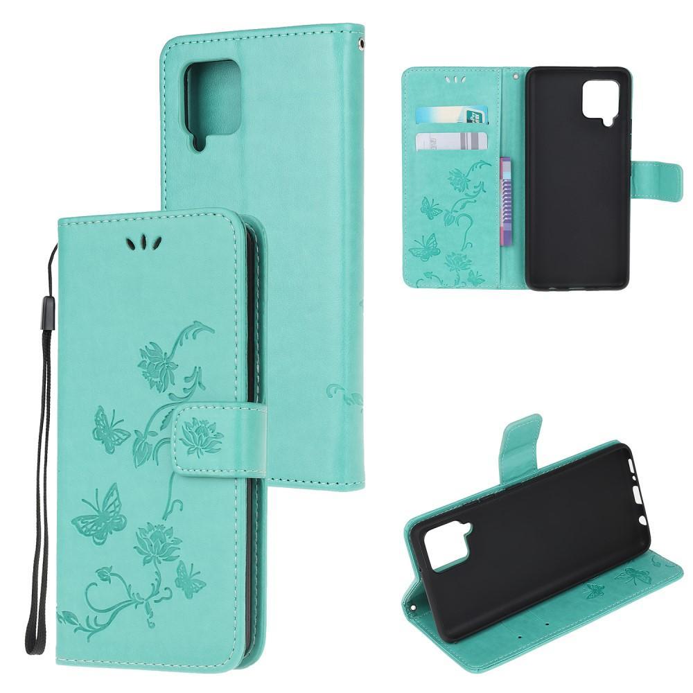 Lærveske Sommerfugler Samsung Galaxy A42 5G grønn