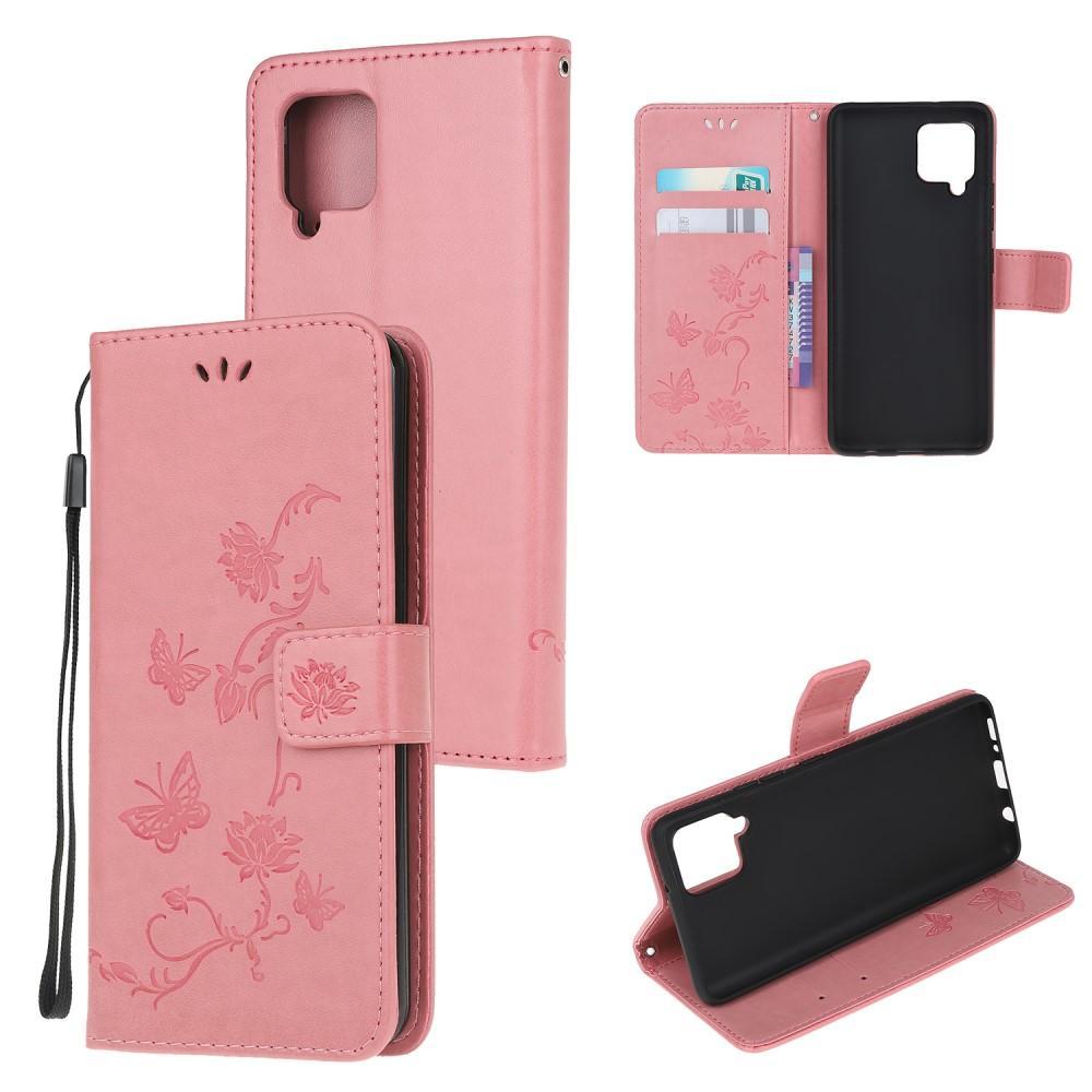 Lærveske Sommerfugler Samsung Galaxy A42 5G rosa