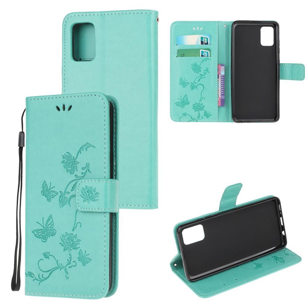 Lærveske Sommerfugler Samsung Galaxy A72 5G grønn
