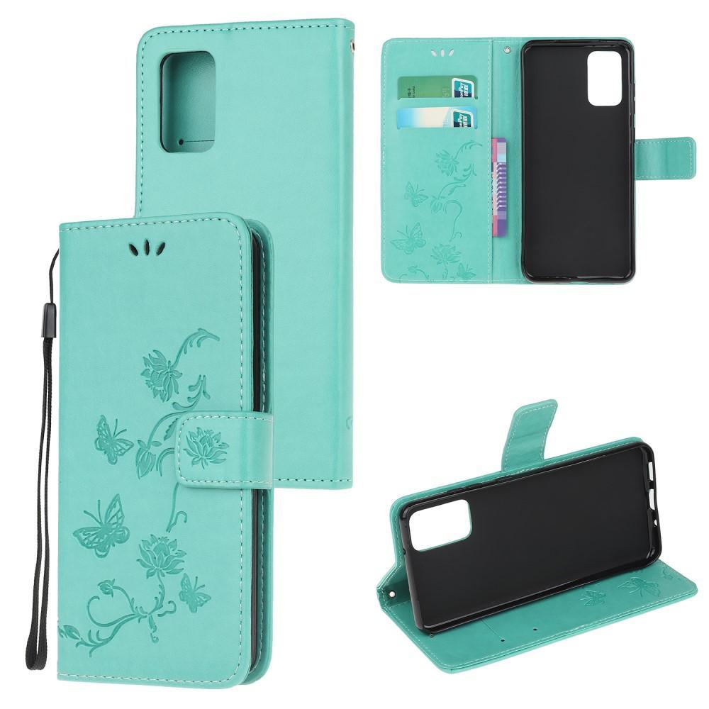 Lærveske Sommerfugler Samsung Galaxy S20 FE grønn