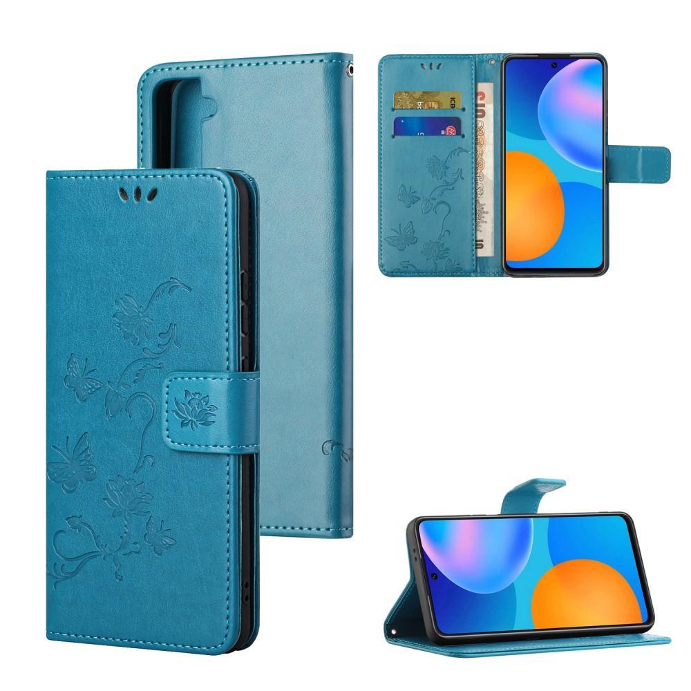 Lærveske Sommerfugler Samsung Galaxy S21 blå