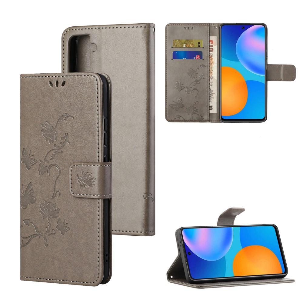 Lærveske Sommerfugler Samsung Galaxy S21 grå